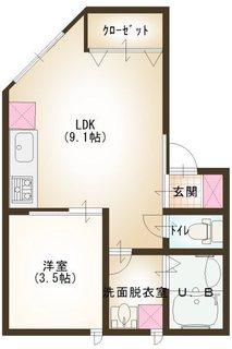 1号室 1LDK1〜2階.JPG